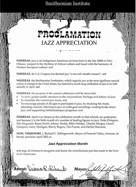 Jazz Appreciation Month Prescott AZ Proclamation